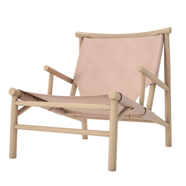 Chaise Samurai Lounge Chair by Norr11 en chêne naturel / cuir naturel