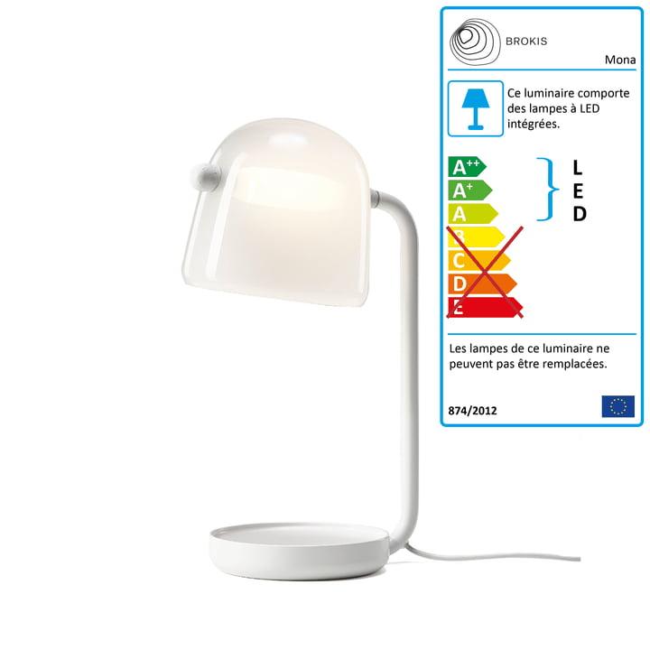 Lampe de table Mona LED de Brokis en opale de verre / cadre blanc / câble textile blanc