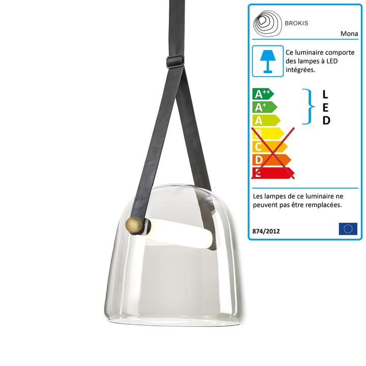 Mona Suspension LED medium de Brokis en verre clair / chêne ciré / noir / cuir noir / noir