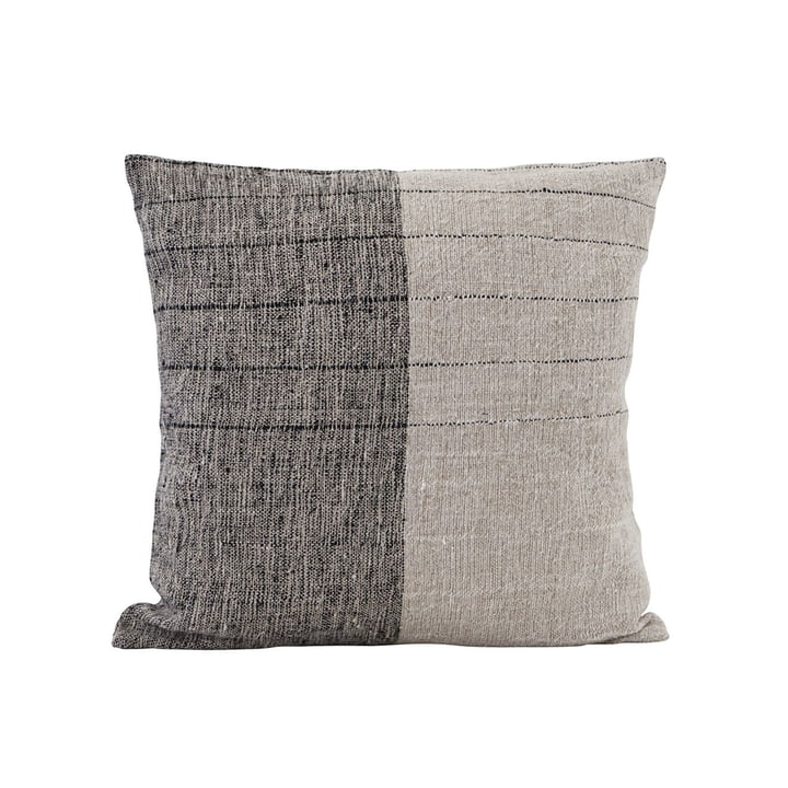 Taie d'oreiller plongée, 50 x 50 cm, noir / blanc cassé par House Doctor