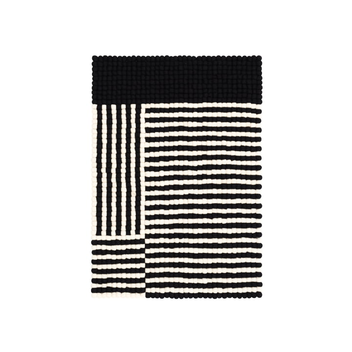 Tapis de sol en feutre Lino 70 x 100 cm de myfelt en noir / blanc