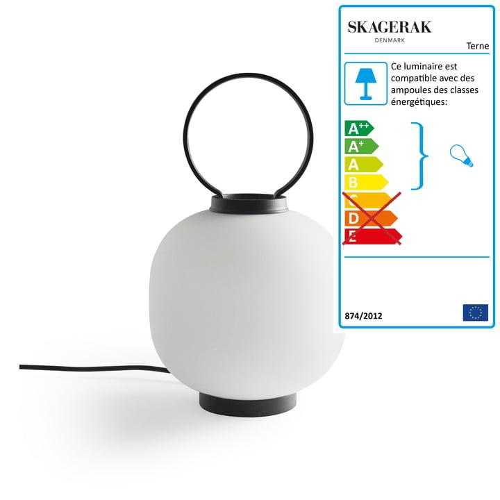 Lampe de table Terne Ø 22 x H 37 cm de Skagerak en noir