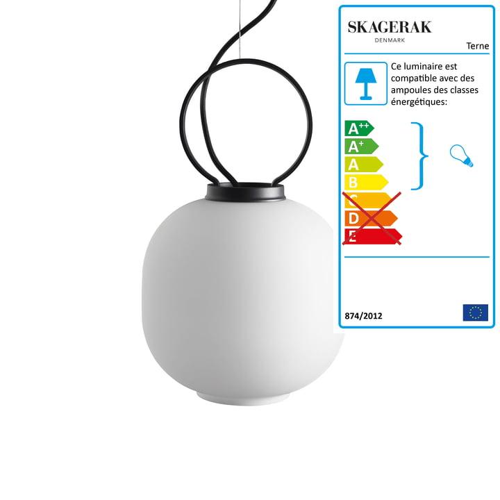Luminaire suspendu Terne Ø 22×H 36 cm de Skagerak en noir