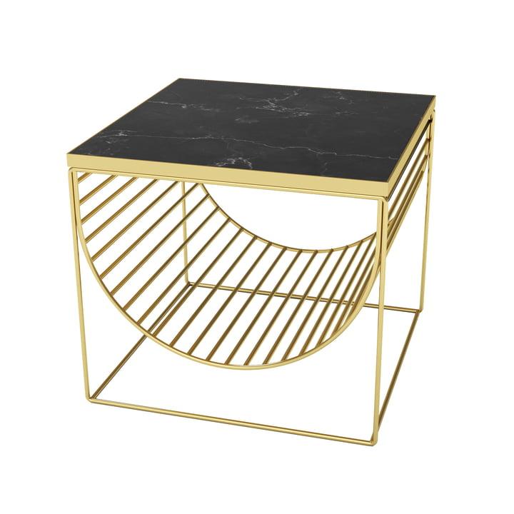 Table / porte-revues Sino par AYTM en or / marbre noir