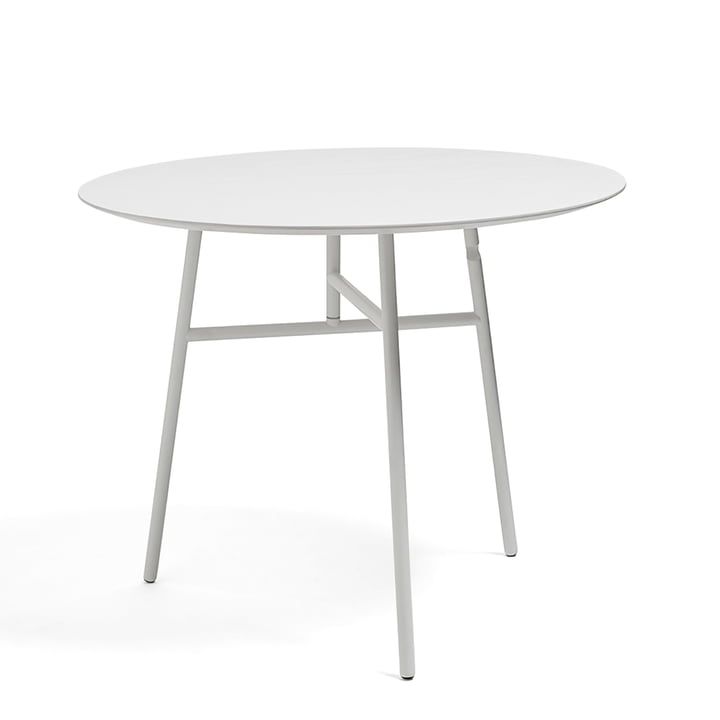 Table pliante inclinable Ø 90 x H 74 cm par Hay en blanc