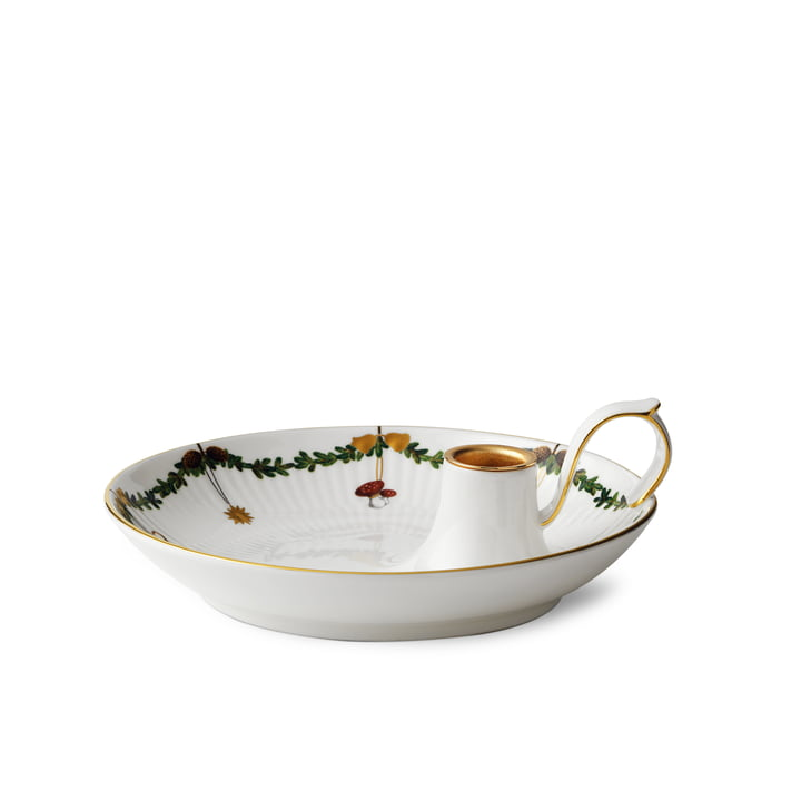 Bougeoir de Noël cannelé étoile avec poignée 17,5 cm du Royal Copenhagen