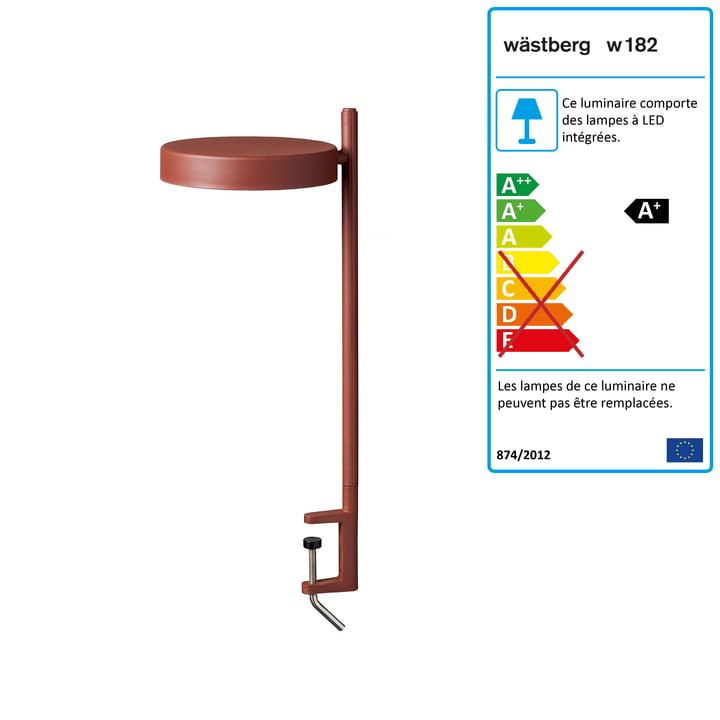 w182 Pastille LED clamp light c2 de Wästberg en rouge oxyde