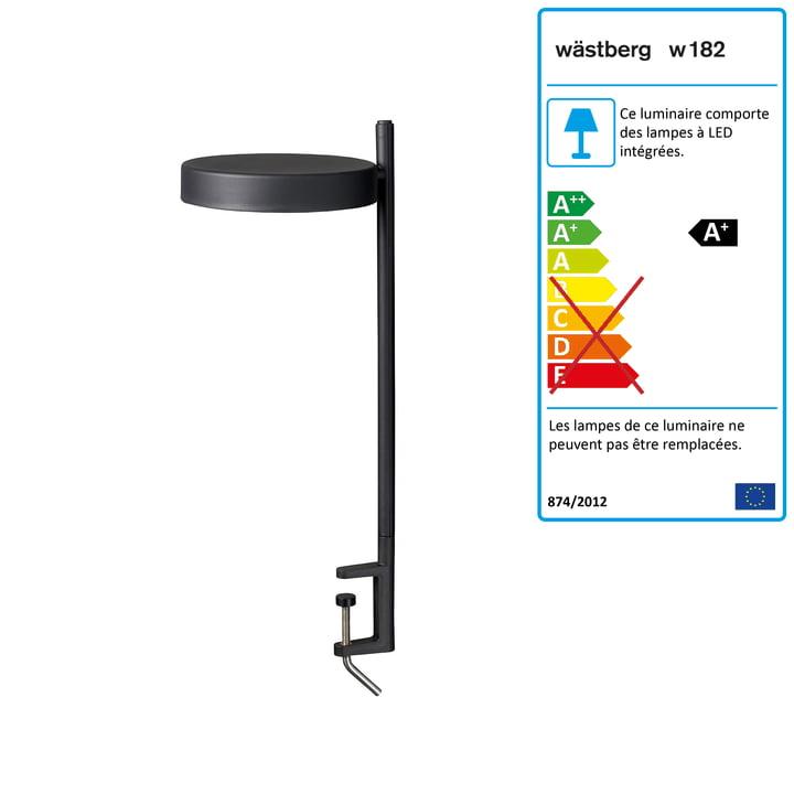 w182 Pastille LED clamp light c2 de Wästberg en noir graphite