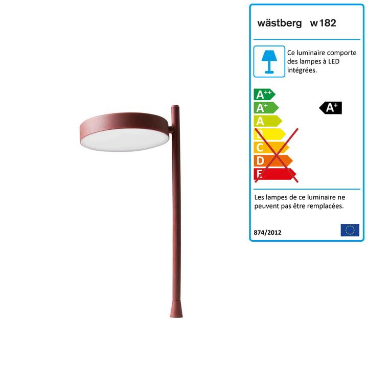 w182 Pastille Lampe de table à LED Pastille p2 de Wästberg en rouge oxyde