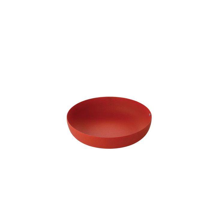 coupe Ø 21 x H 4,7 cm d'Alessi en rouge avec décor en relief