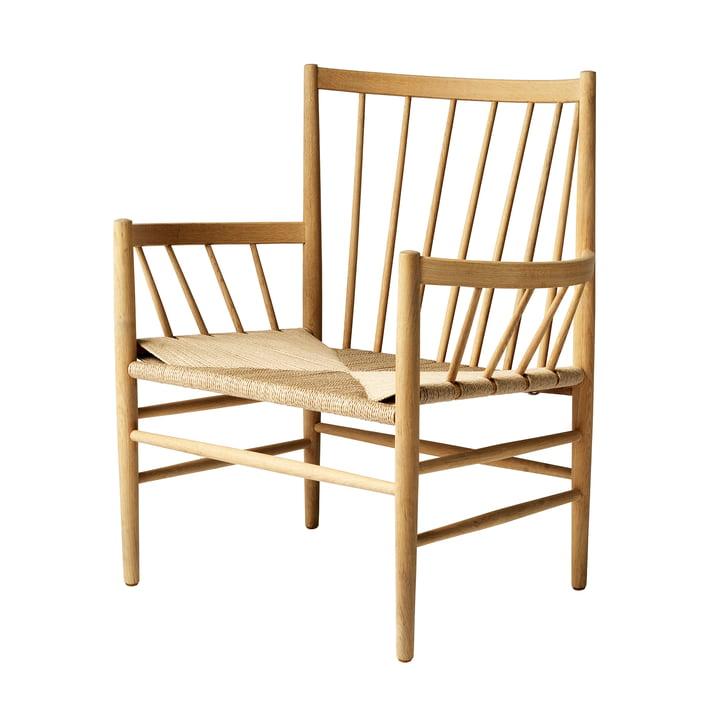 J82 Chaise longue, chêne laqué mat / tissage naturel FDB Møbler