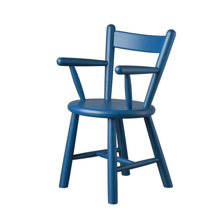 Chaise haute P9 de FDB Møbler en bouleau verni bleu merisier