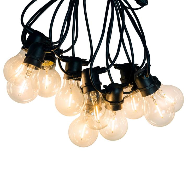 Connox Collection - Chaîne lumineuse LED intérieur/extérieur (IP 44), 10 lampes rondes, câble noir