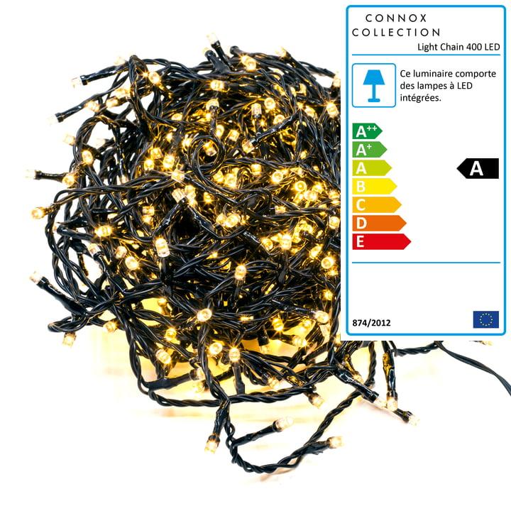 Connox Collection - Chaîne légère intérieur / extérieur (IP 44), 20 mètres, 400 lumières, noir