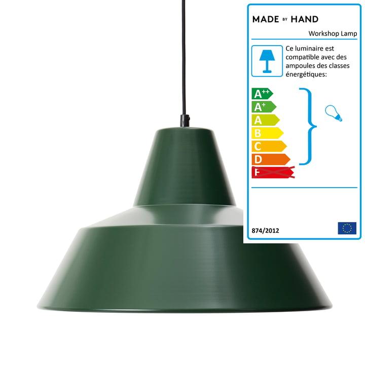 Lampe d'atelier W4, vert course / noir par Made by Hand