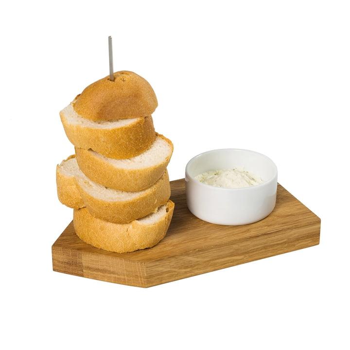 Plateau à pain Ahoi avec bol à trempette, chêne / blanc de conception de la pièce