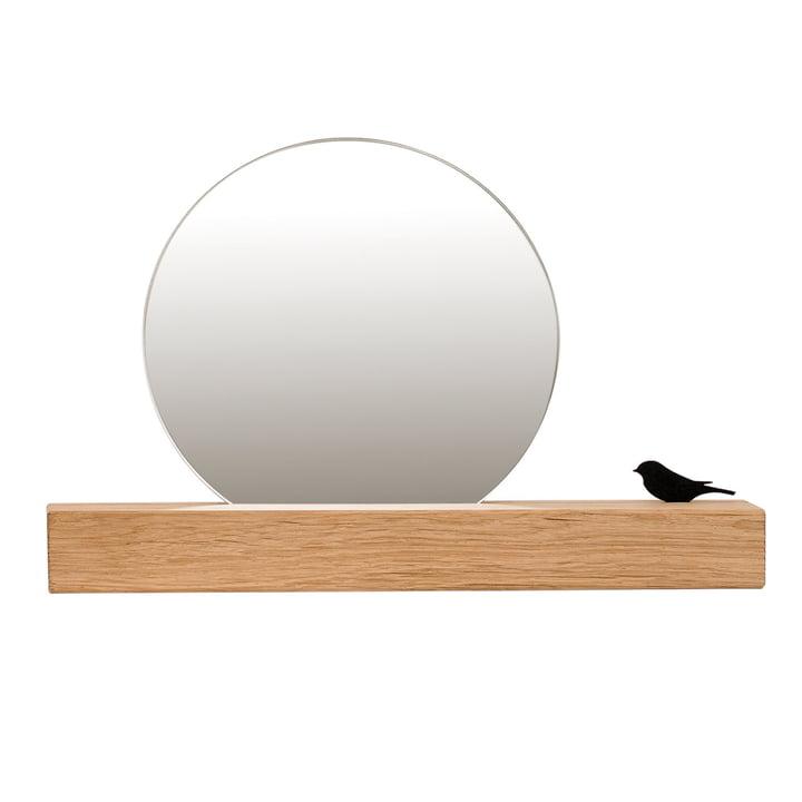 Miroir avec oiseau Ø 25 cm, chêne naturel de conception de chambre
