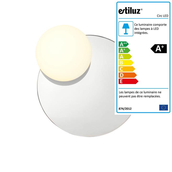 Applique Circ LED avec miroir A-3702 Ø 30,8 cm de Estiluz en gris fumée