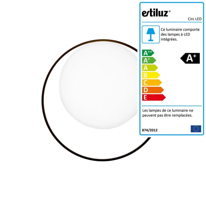 Applique Circ LED Estiluz en noir