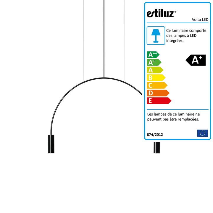 Volta Luminaire LED à suspension 2700K d'Estiluz en noir
