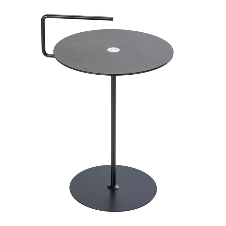 Table d'appoint Pick-Up M Ø 38 x H 50/62 cm de LindDNA en nupo anthracite / gris clair