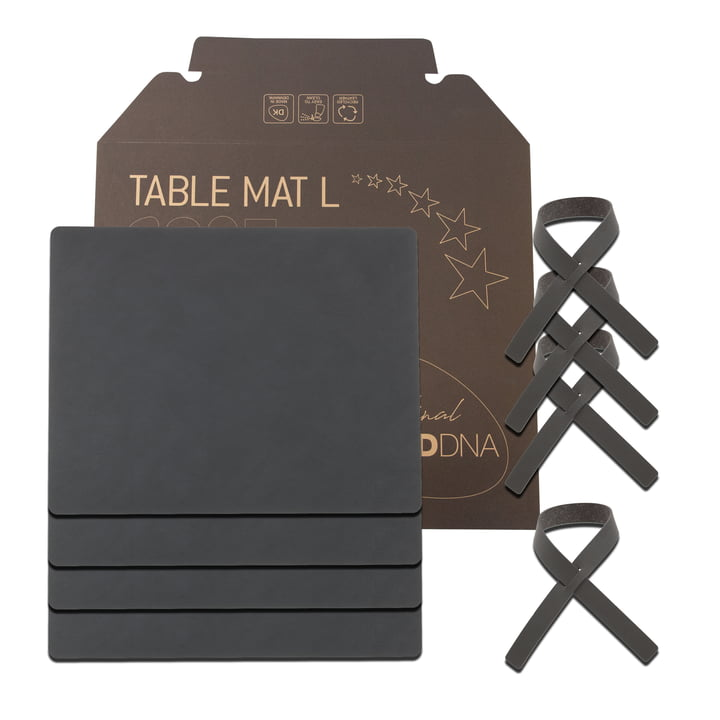 Coffret cadeau Square L by LindDNA en Nupo anthracite (4 sets de table + 4 ronds de serviette)