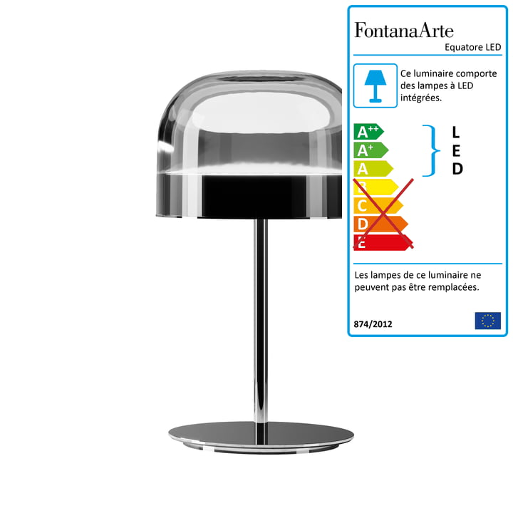 Lampe de table Equatore LED Ø 23,8 cm par FontanaArte en chrome / noir