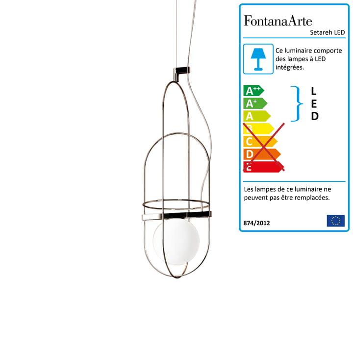 Setareh Lampe pendentif LED petit modèle de FontanaArte en or