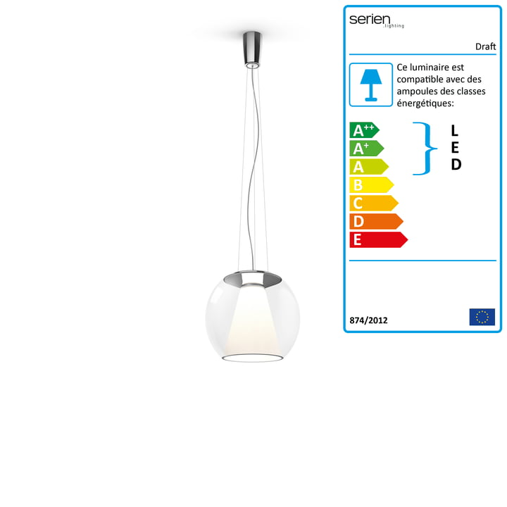Tirant d'eau suspension S, Ø 26 x H 2 1. 5 cm, 2700 K / 1130 lm, transparent de serien.lighting