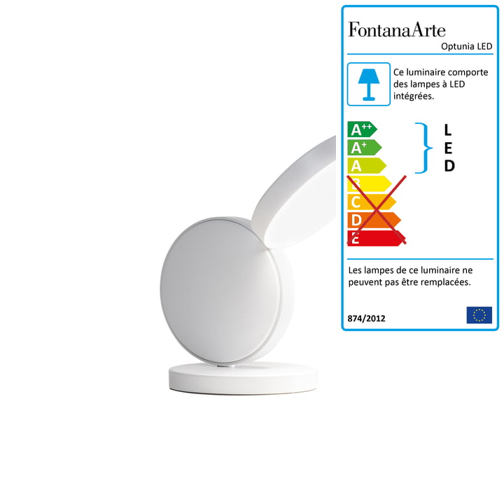 Optunia lampe de table LED H 24 cm de FontanaArte en blanc