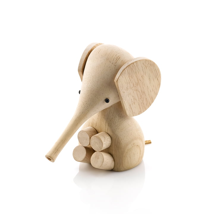 Gunnar Flørning Baby Elephant figurine en bois H 11 cm par Lucie Kaas dans l'arbre à caoutchouc nature