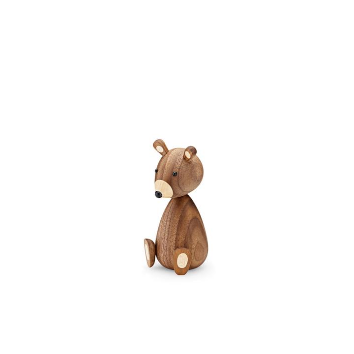 Figurine bébé ours en bois H 11 cm par Lucie Kaas en noyer