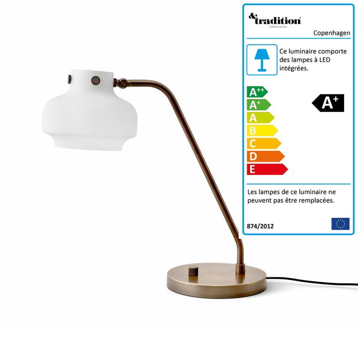 Lampe de table Copenhagen SC15 par & tradition en verre opale / laiton brunit