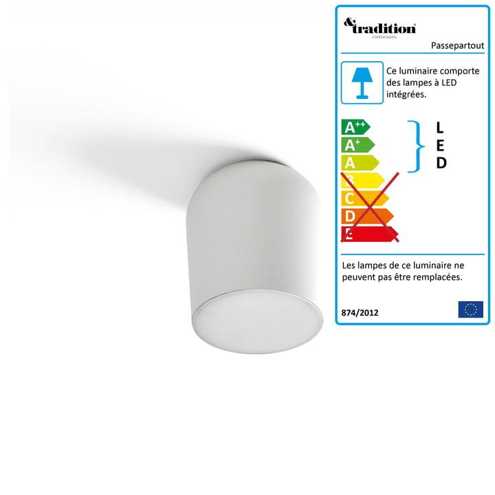 Applique et plafonnier Passepartout JH10 Ø 15,5 x H 17 cm de & tradition en blanc