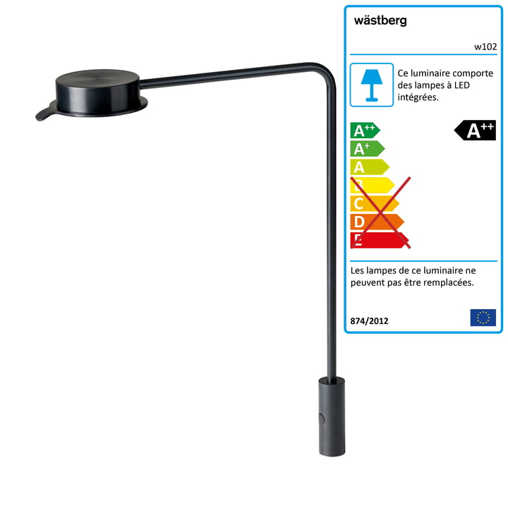 w102 Lampe de table à LED Chipperfield p de Wästberg en noir
