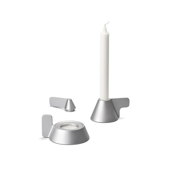 Bougeoir conique de Design House Stockholm en gris