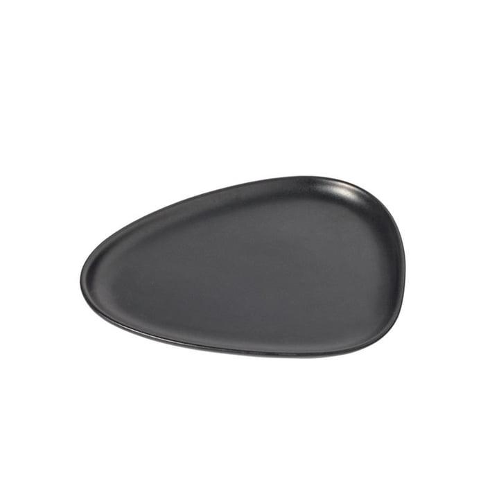 Assiette à lunch en grès courbé 22 x 19 cm de LindDNA en noir