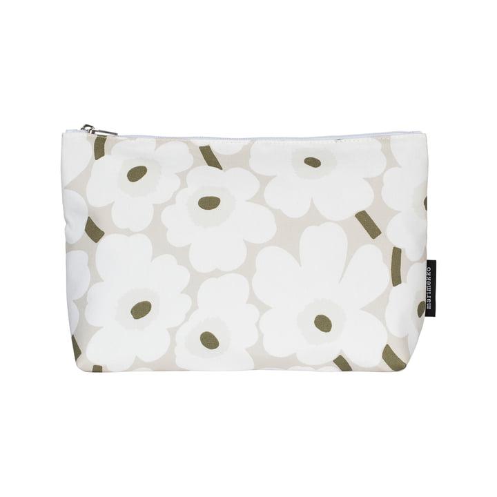 Relle Mini sac à cosmétiques Unikko, beige / blanc / gris-vert par Marimekko