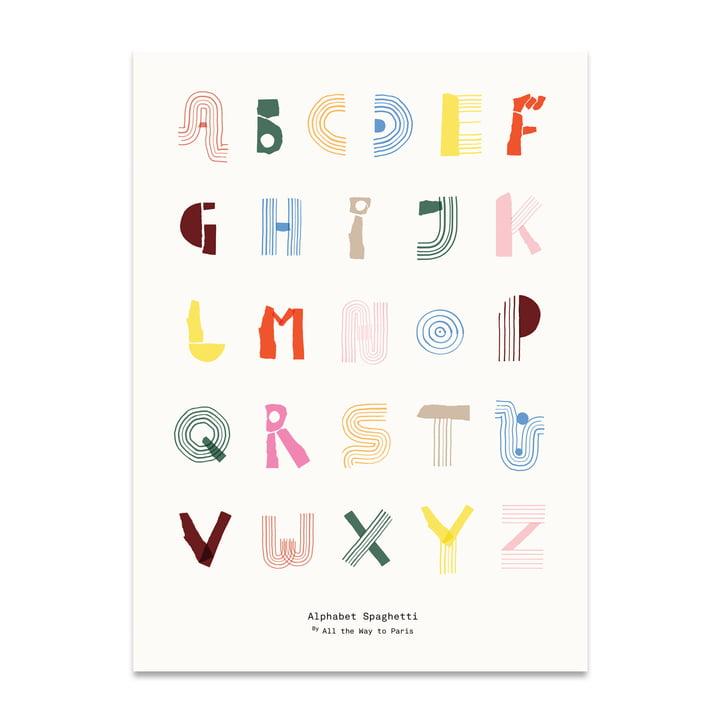 Alphabet Spaghetti 50 x 70 cm de Paper Collective