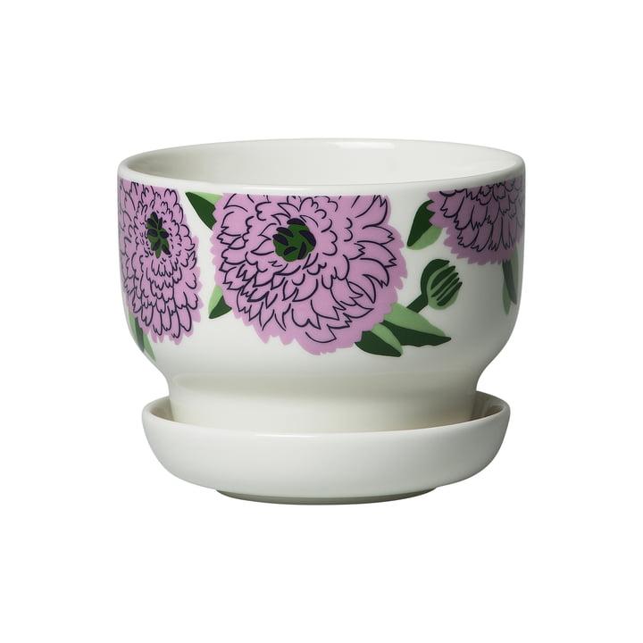 Pot de fleurs Primavera, blanc / violet / vert de Marimekko
