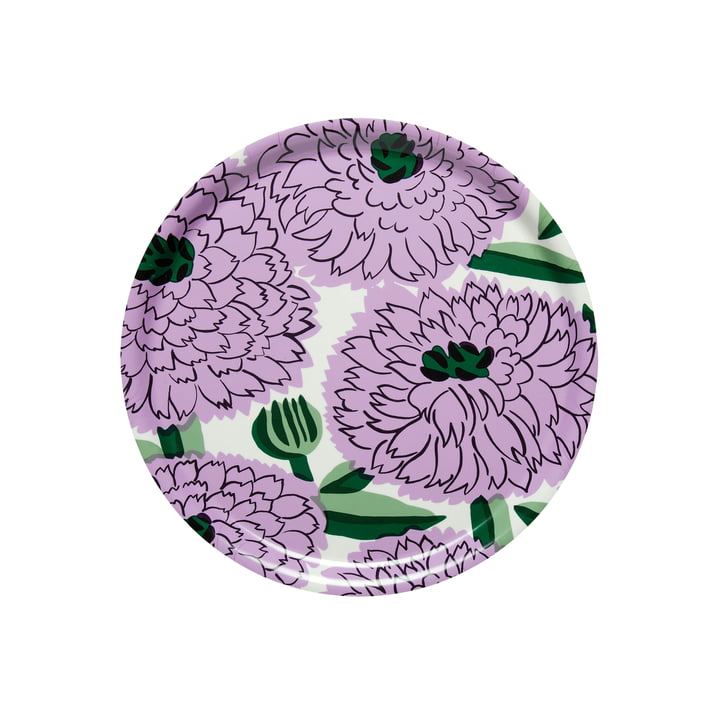 Primavera Plateau Ø 31 cm, blanc / violet / vert de Marimekko