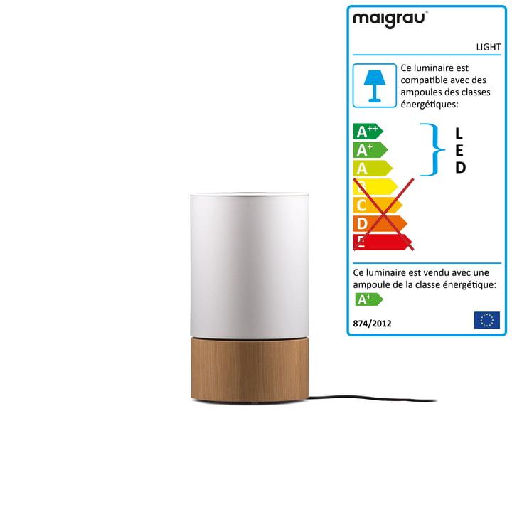 Lampe de table LIGHT 45 LED, chêne naturel, blanc de Maigrau