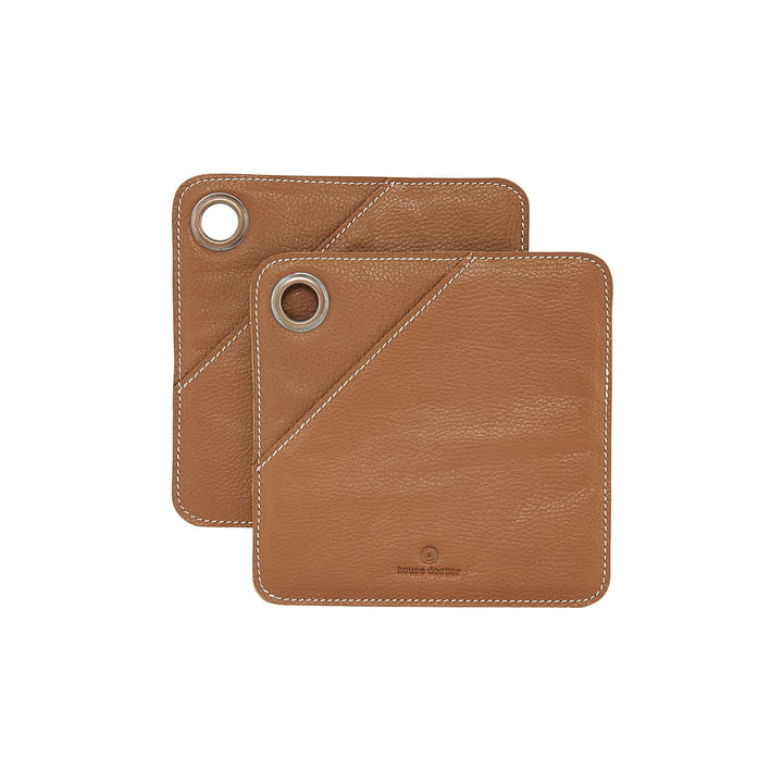 Porte-pot carré en cuir carré, cognac (lot de 2) par House Doctor