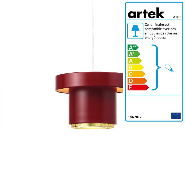 A201 lampe à suspension de Artek en laiton / rouge foncé