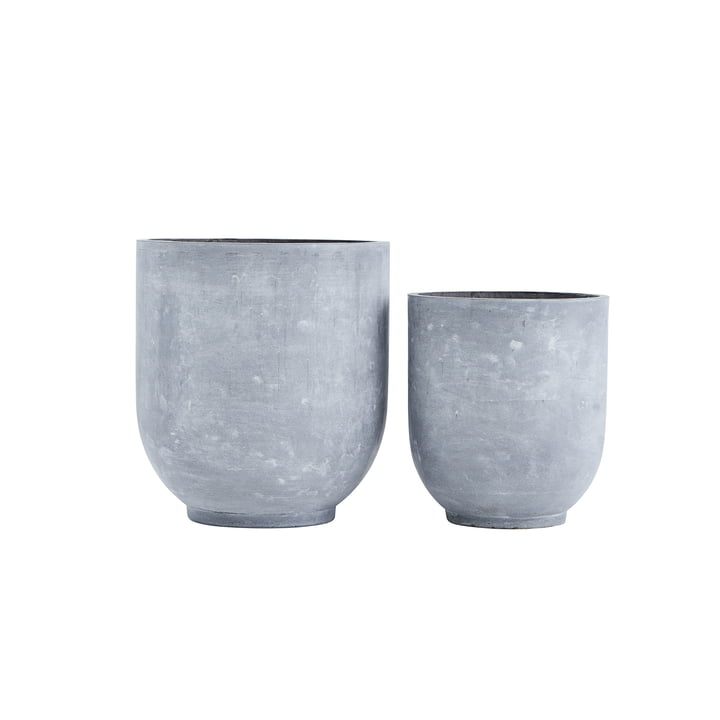 Pot à plantes Gard, gris clair (lot de 2) par House Doctor
