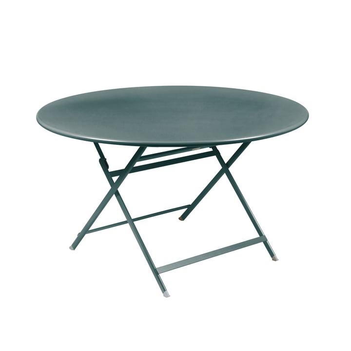 Caractére, table pliante. Ø 128 cm, gris orage par Fermob