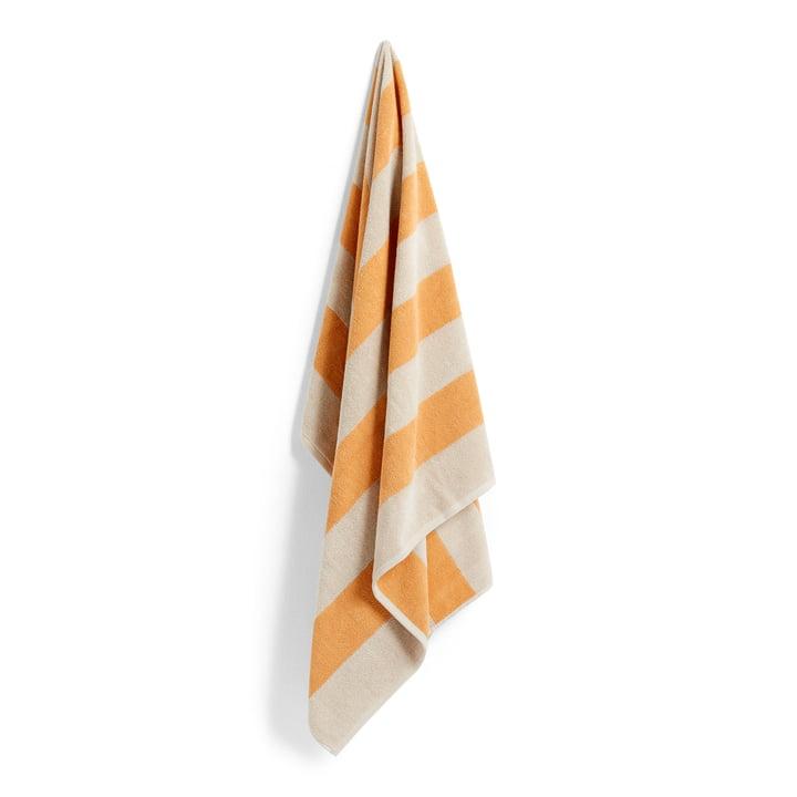 Frotté Stripe Serviette de bain, 100 x 150 cm, jaune chaud de Hay
