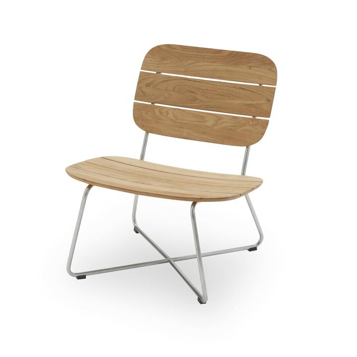 Chaise longue Lilium, teck / acier inoxydable par Skagerak