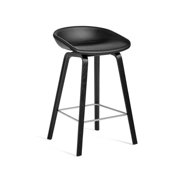 About A Stool AAS 33 H 75 cm by Hay en structure en chêne noir (teinté) / sellerie cuir sellerie Sierra (SI1001)