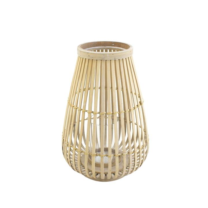 Lanterne en bambou avec insert en verre dans la nature, 36 cm
